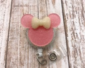 Minnie Mouse Ears Silhouette Bow Pink Badge Reel Retractable Disney ID Holder Nurse CNA RN Technician Alligator Swivel Clip