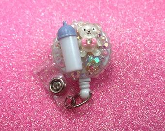 Baby Bottle Teddy Bear Heart Cute NICU Rn Cna Nurse Pediatric Cute Kawaii Pacifier Animal Medical ID Retractable Badge Reel Holder
