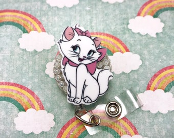 Marie Aristocats White Kitty Cat Pink Bow Nurse Rn Cna Badge Reel retractable Work Id Holder Technician Medical Assistant Animal Lover Cute