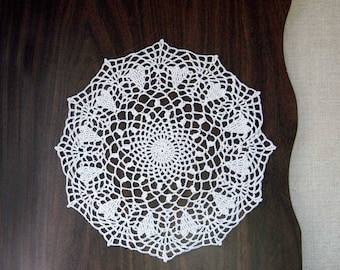 Crochet Hearts Lace Doily, Cottage Chic Decor, Romantic, White Heart Doily, 11 1/2 Inch Doily, Mother's Day Gift