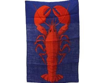 Vintage Ulster Irish Linen Lobster Tea Towel Dish Towel Teatowel Unused Glamping Beauty