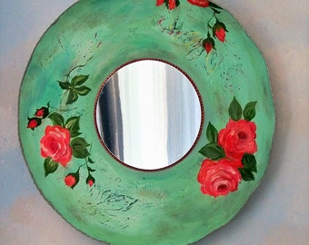 Decorative shabby chic bohemian wall  mirror, round mirror, cottage decor floral gypsy mirror, distressed, unique, functional art, boho chic