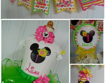 Minnie Mouse Luau Smash Cake Party Package ONE high chair banner birthday hat luau cake toper