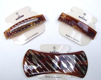 3 faux tortoiseshell hair accessories Karina 1980s hair barrette hair slide hair clip hair ornament hair jewelry (ABL)