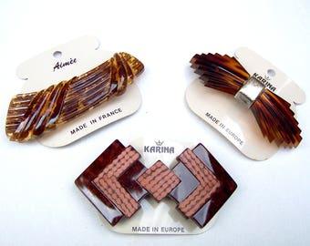 3 vintage faux tortoiseshell hair barrette Karina 1980s hair slide hair clip hair ornament hair jewelry (ABP)
