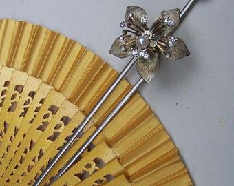 Vintage Japanese Kanzashi hair pin Geisha flower faux pearl hair pick hair fork hair accessory hair ornament (AAL)