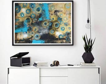 Turquoise abstract painting, Minimalist art, gold and turquoise home decor, turquoise and gold art, circular art, round shaped painting