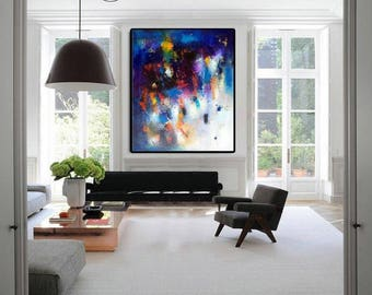"""XL Abstract painting, Modern oil canvas large wall art, 36""""x42"""" gallery canvas modern navy painting, calming art, large navy pink canvas art"""