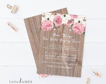 Vow Renewal Invitation- Vintage Floral / Surprise Vow Renewal / Cottage Chic / Rustic / Anniversary