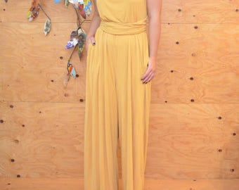 Unique 60's Style Glam Soft Buttery Yellow Wide leg Jumper / Jumpsuit Wrap Bodice SZ L