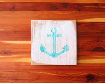 Anchor Coasters Set of 4 - Nautical Coaster Set - Rustic Coaster Set - Handpainted Cedar - Nautical Gift - Turquoise Anchor - Wood Coasters