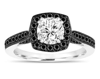 Platinum GIA Diamond Engagement Ring, Black Diamond Wedding Ring 1.16 Carat Halo Pave Certified