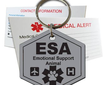 Emotional Support Animal ID Tag Pre-Engraved Hexagon Plastic SD7
