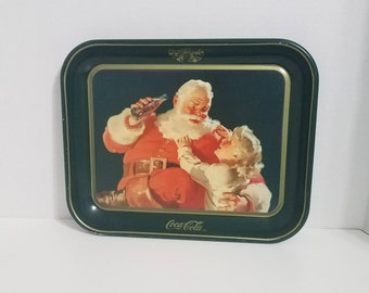 Coca Cola Tray, Santa with Blond Child, 1984