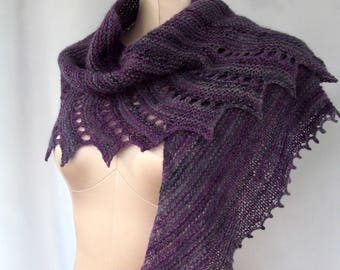 Women's Hand Knit Wrap in Gray and Purple