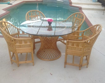 """FICKS REED STYLE Rattan Bamboo Table Base 29"""" tall / Bamboo Rattan Dining Table Base / Free 48"""" Glass  Palm Beach Cottage Retro Daisy Girl"""