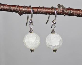 Snowball Earrings - Christmas Earrings - Winter Earrings - Holiday Earrings - Gifts Under 15 - White Earrings