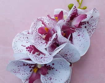 Unique white and pink phalaenopsis orchid hair flower clip wedding bride retro vintage 50s rockabilly hairflower pin up