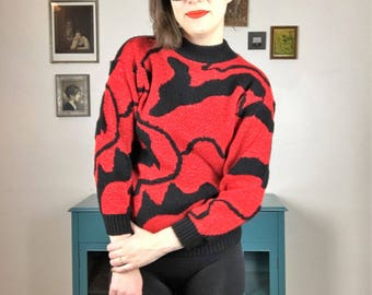 Vintage 1980s Red and Black Sweater