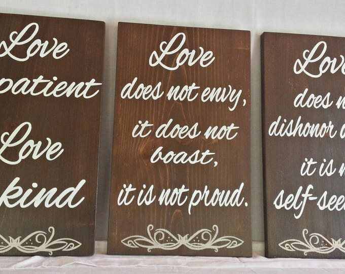 Featured listing image: Love is Patient, Aisle signs, 1st Corinthians 13 sign set, wedding signs, rustic wedding