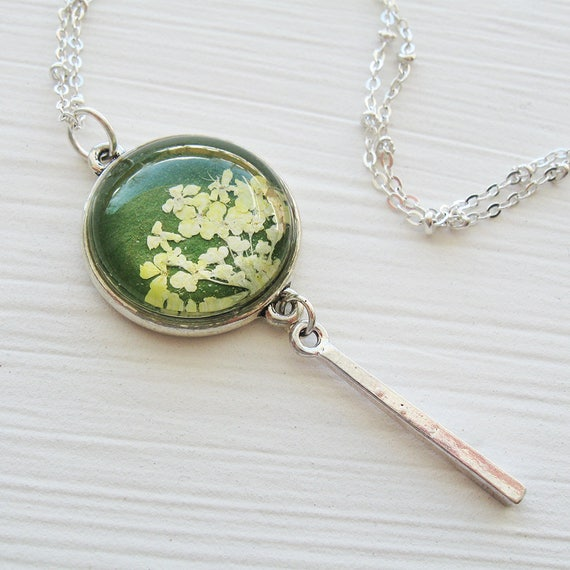 Real Pressed Flower Necklace - Olive Green and Silver Queen Annes Lace Necklace with Droplet