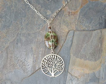 Tree of Life Necklace, Natural Stone Necklace, Gaspeite Necklace, Wire Wrapped Necklace, Green Necklace, Green Stone Necklace, Tree Jewelry