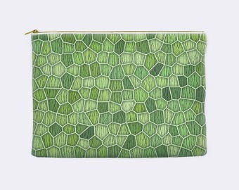Pencil case, cosmetic bag, abstract printed mosaic pattern, celery green, zippered pouch, pencil pouch, toiletry bag, makeup bag