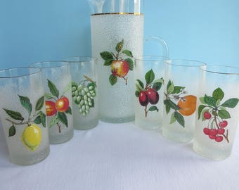 Vintage Frosted Glasses with Pitcher - Fruit Motif - West Virginia Glass - Textured Painted Finish