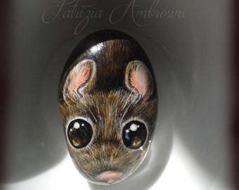 Mouse No.3  Handpainted rock painting painted stone miniature painted rock