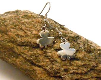 Celtic Shamrock Clover Sterling Silver Pendant Irish Ireland Surgical Steel Dangle Shepherd Hook Earrings