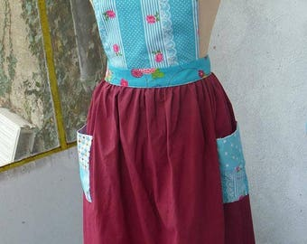 Gathered kitchen apron red and blue
