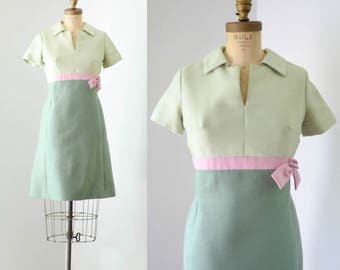 Vintage 1960's Green Color Block MOD Dress