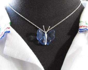 MILESTONE SALE 40% OFF, Clear Blue Butterfly Silver Tone Necklace