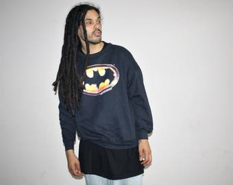 Batman 1989 Black Bat Symbol Logo  Oversize Hip Hop Sweatshirt - Batman Vintage - 90s Clothing - 50 50 Cotton Poly - MV0421