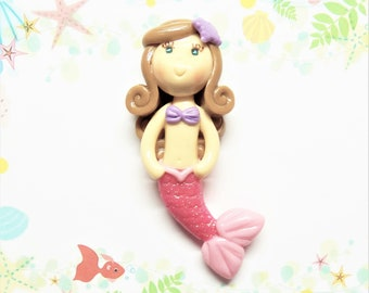 Pink Tail Little Mermaid Bow Center, Pendant, Ornament, Brooch, Magnet, Purse Charm, Necklace, Cold Porcelain Clay Mermaid Figurine, Gift