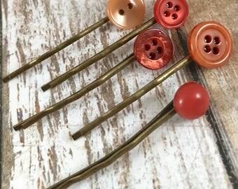 Bobby Pins, Hair Pins, Orange Hair Accessories, Dark Orange Bobby Pins, Small Bobby Pins, Short Hair Pins, for Girls, for Teens