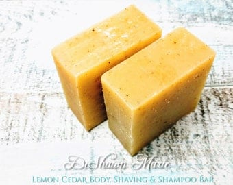 SOAP 3 lb Cedar Lemon Shampoo, Shaving, Soap Loaf, Wholesale Soap, Vegan Soap, Cold Processed Soap, Natural Soap, Christmas Gift
