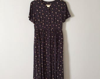 L.L.Bean dress // floral rayon maxi dress // midnight blue button front prairie dress