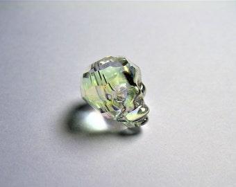 Crystal faceted skull - 1 pcs - 20mm - Clear lemon topaz Ab - SFB10