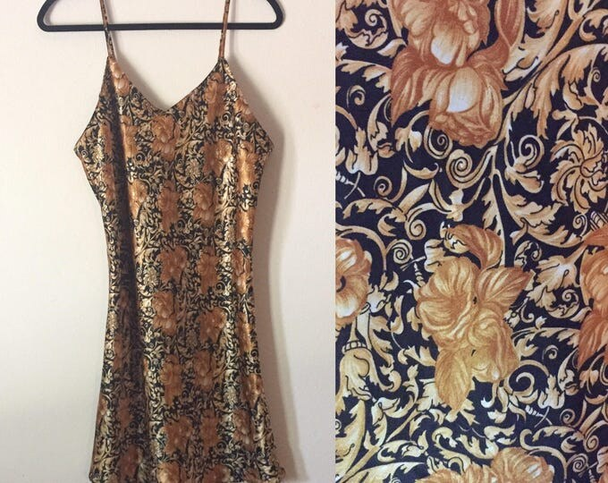 Baroque Print Slip | L black and gold v neck spaghetti strap 90s vintage flared mini dress extra large XL SLIP DRESS high fashion