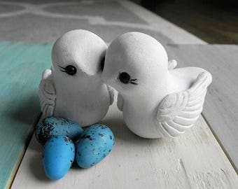 Love Birds With Eggs Wedding Cake Topper