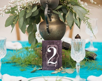 Wedding Table Numbers on Stands, Book Look Number Standing Wedding Decoration Centerpiece Numbers Fairytale Vintage Books (Item - BTN200)