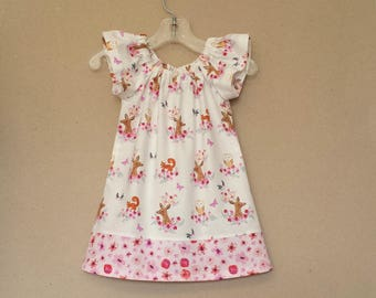 Baby Girl Woodland Easter Dress - Flutter Sleeve Dress & Bloomers - Pink and White Woodland Animals Dress - Size Nb, 3m, 6m, 9m, 12m or 18m