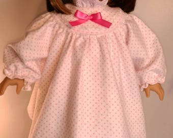 White and pink dotted flannel winter long nightgown fits 18 inch dolls like american girl