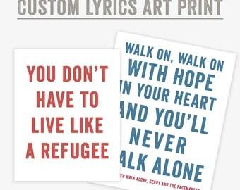 Custom Song Lyrics Print, lyrics wall art, Personalized gift for women, for men