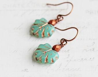Aqua Blue Czech Glass Maple Leaf Earrings on Antiqued Copper Plated Hooks
