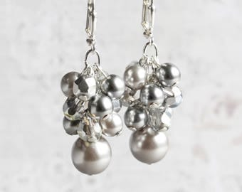 Silver Gray Beaded Cluster Earrings on Silver Plated Hooks