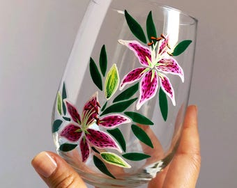 Stargazer Lilies Hand Painted Wine Glass