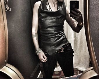 Post Apocalyptic Womens  Black Leather Halter/ Patchwork Leather Halter