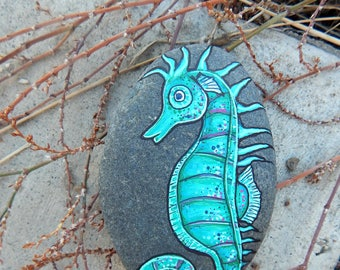 WHIMSICAL Green SEAHORSE Hand Painted Stones Rock Art OCEAN Animals Spirit Guide Artwork Sea Creatures Art Nature Paintings